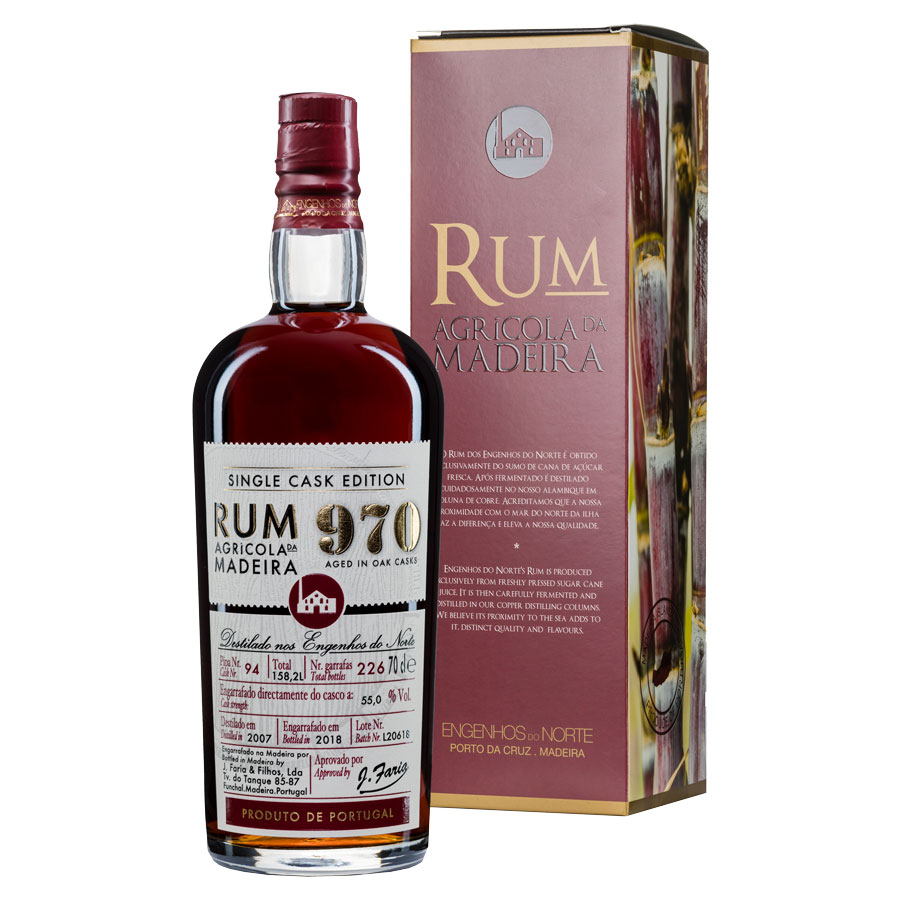 Rhum Single Cask 970, 0,70 L, 55 %-vol - J. Faria & Filhos, LDA