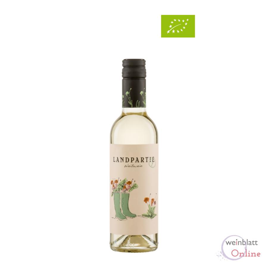 Halbe Flasche Landpartie weiß, 2020, Tafelwein, feinherb, vegan, Bioprodukt DE-ÖKO-001